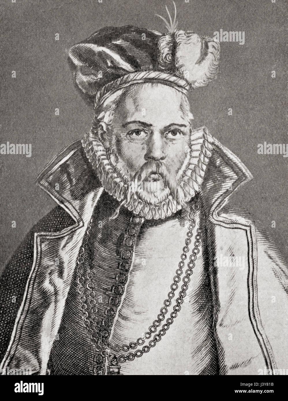Tycho Brahe, born Tyge Ottesen Brahe,  1546 – 1601.  Danish nobleman and astronomer. From Hutchinson's History - Stock Image
