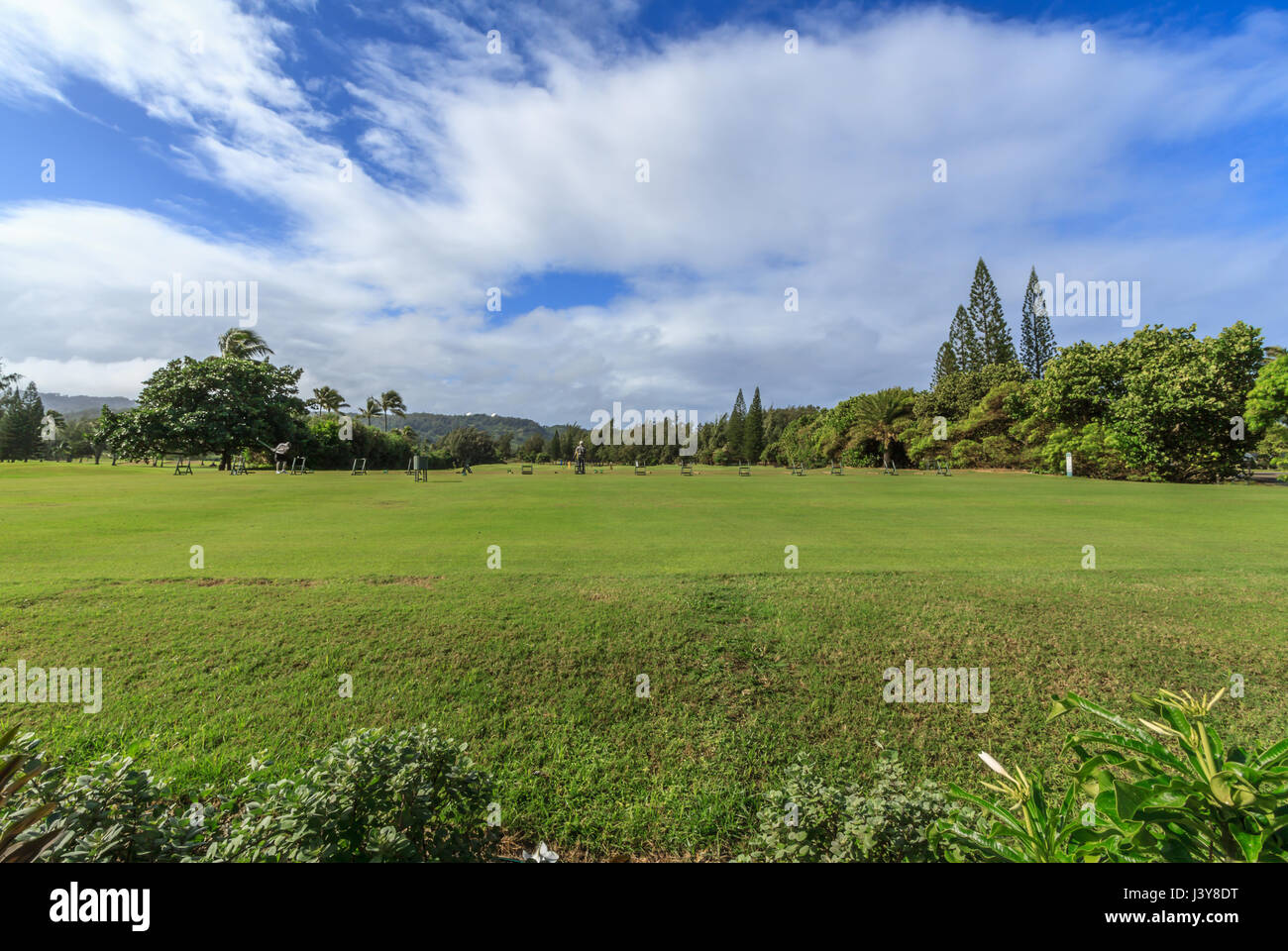 Kahuku Hawaii, Nov. 17 2015: View of the golf course at the Turtle Bay Resort on the north shore of Oahu - Stock Image