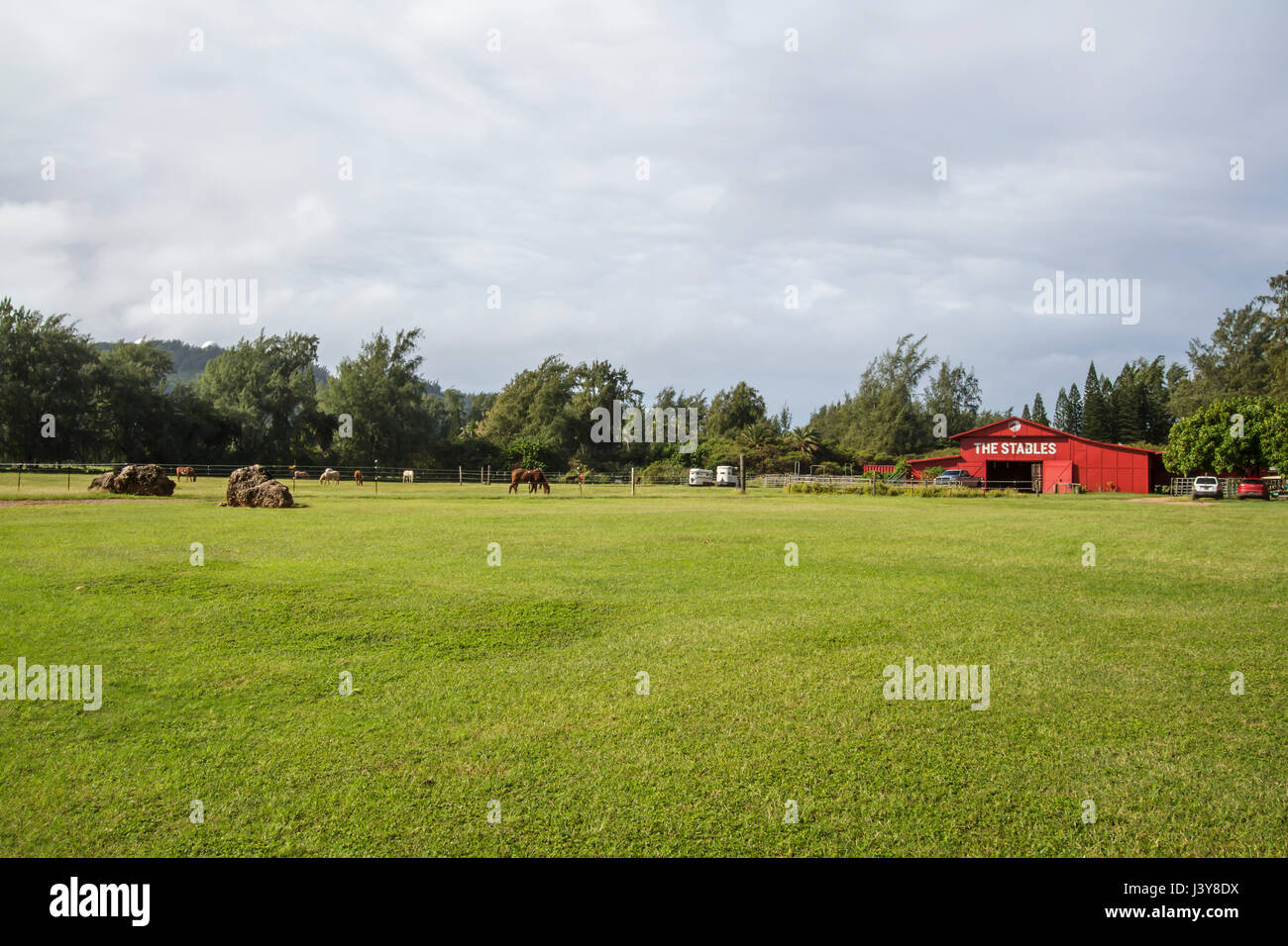 Kahuku, Hawaii Nov. 17 2015: View of the stables located at Turtle Bay resort on the north shore of Oahu Hawaii - Stock Image