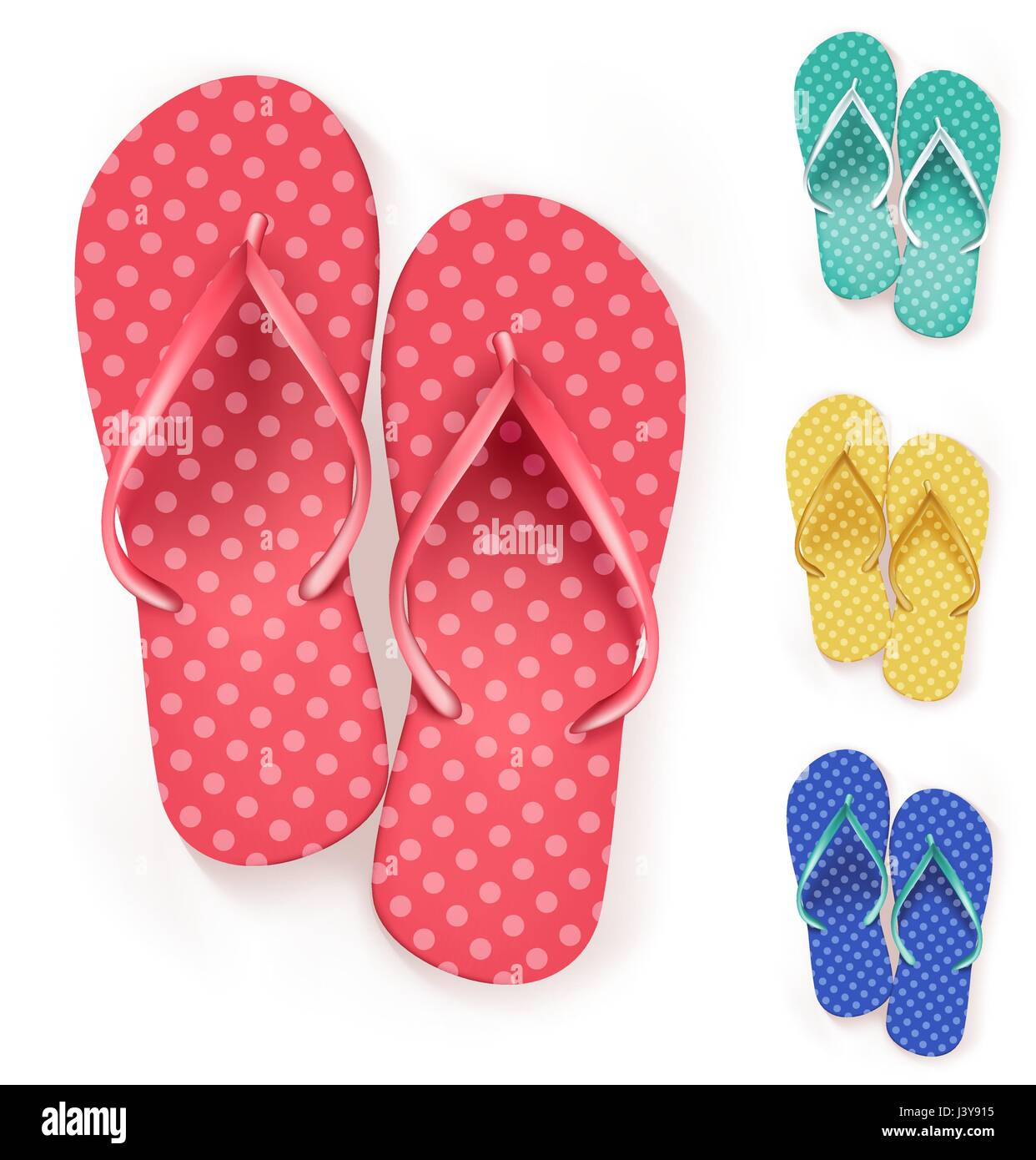 6869a42ddbb5 Vector Set of Colorful Beach Slippers Polka Dots Flip Flops for Summer  Vacation and Outdoor Get