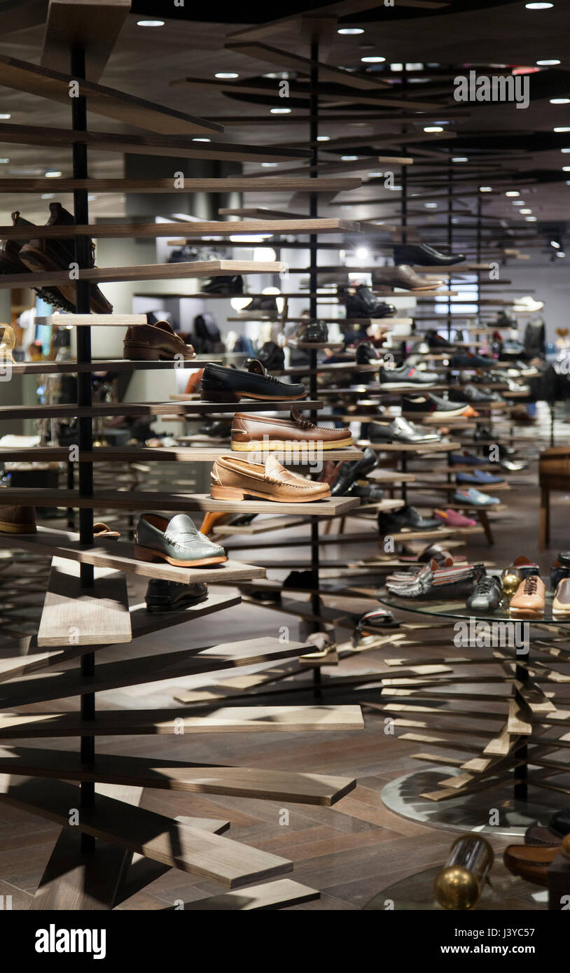 Siam Discovery Shopping Mall , Mens Shoes, in Bangkok - Thailand Stock Photo
