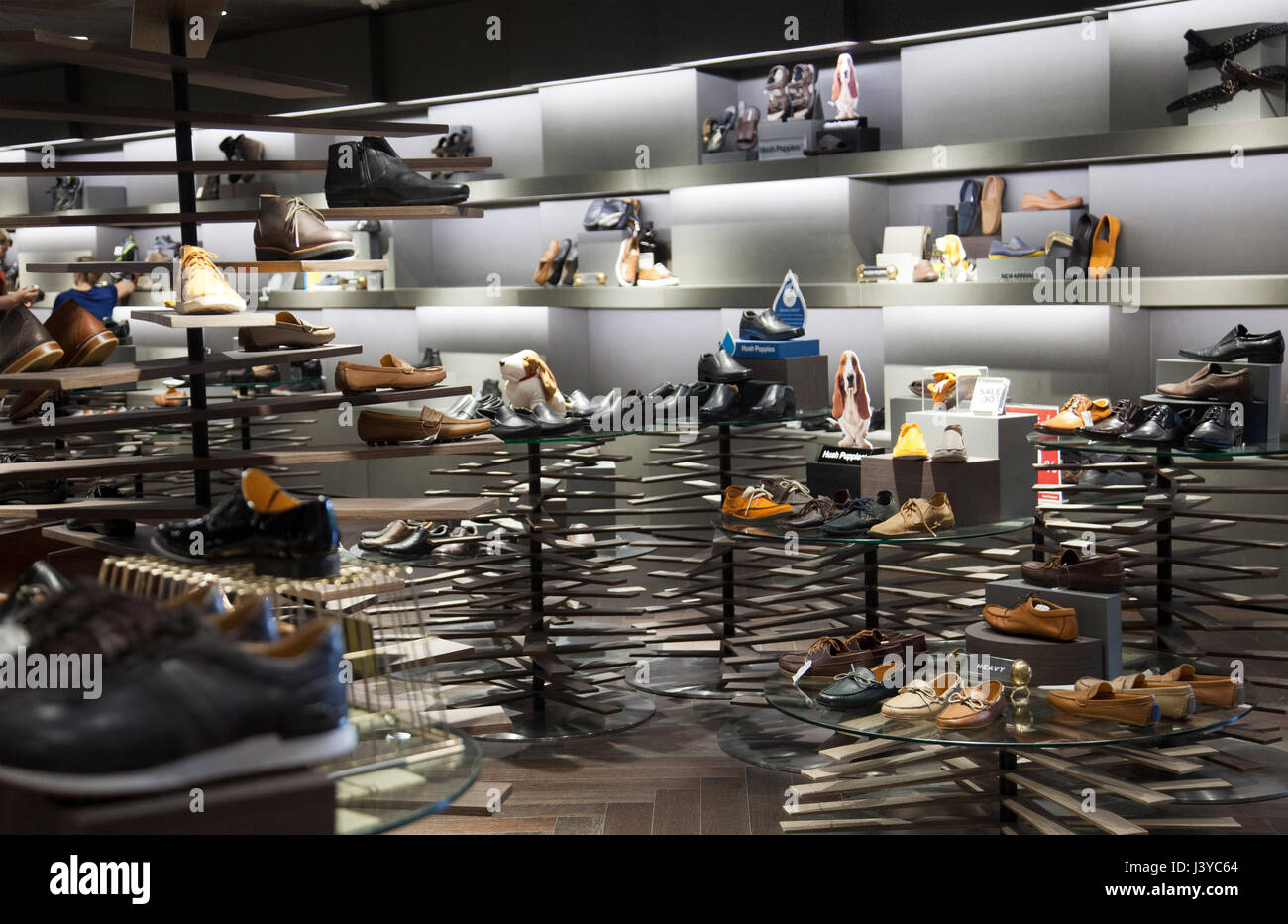 Siam Discovery Shopping Mall , Mens Shoes, in Bangkok - Thailand - Stock Image