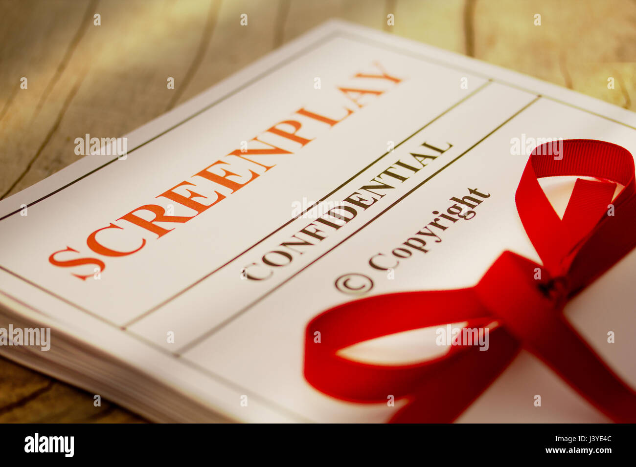 Screenplay Manuscript by Author ready for Proofreading Closeup - Stock Image