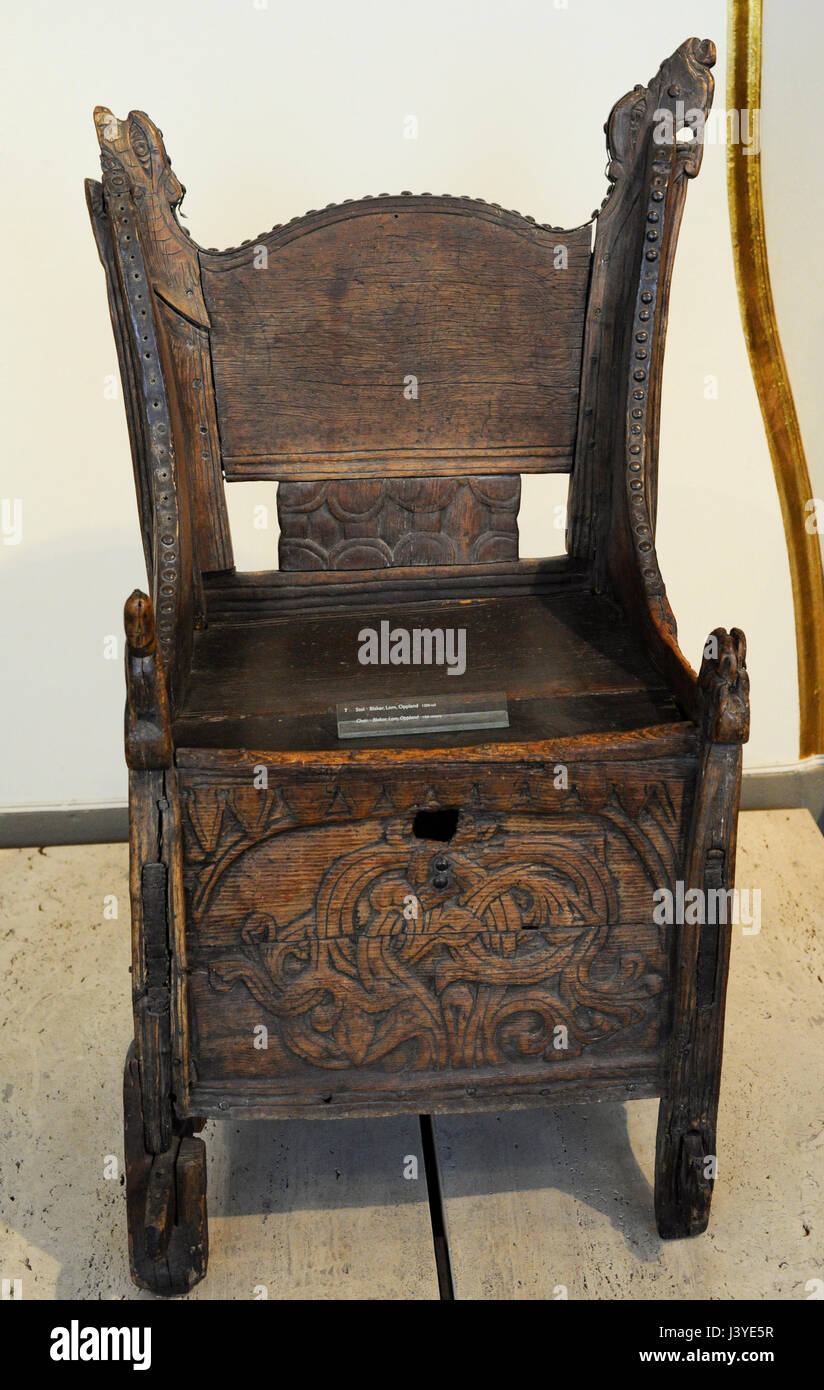 Merveilleux Carved Wooden Chair. Wood. Blakar, Lom, Oppland, Norway. 13th Century.  Historical Museum. Oslo. Norway.