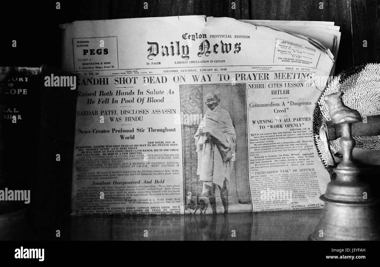 Vintage black&white close up of front page of Ceylon (Sri Lanka) Daily News with breaking news on assassination - Stock Image