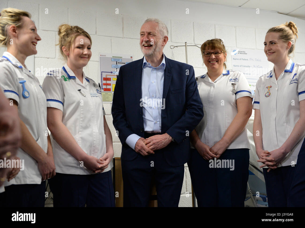 Labour leader Jeremy Corbyn meets nursing students at the