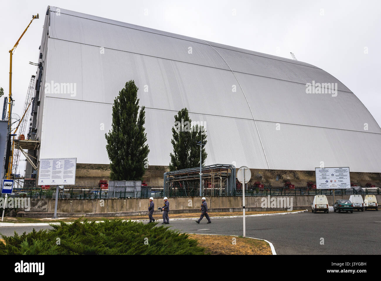 New Safe Confinement structure for reactor No. 4 of Chernobyl Nuclear Power Plant, Zone of Alienation in Ukraine - Stock Image