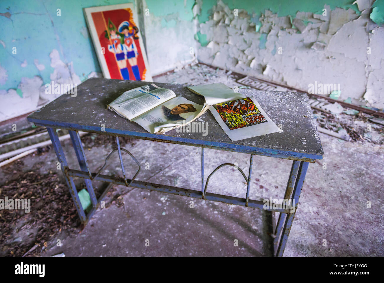 Classroom in High school No 3 in Pripyat ghost city of Chernobyl Nuclear Power Plant Zone of Alienation around nuclear - Stock Image