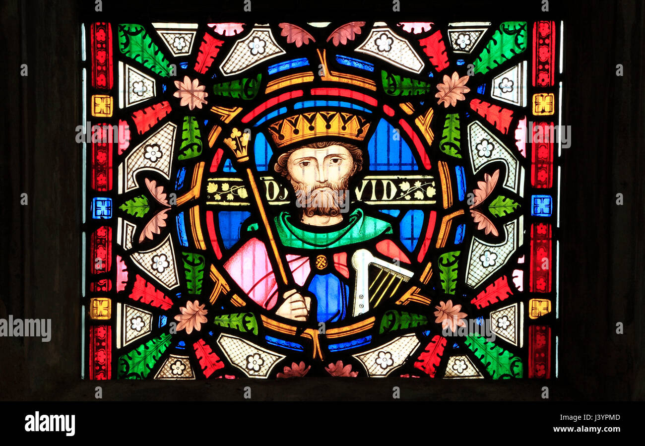 King David, detail from Story of Ruth, stained glass window by Robert Bayne of Heaton Butler & Bayne, 1862  Sculthorpe, Stock Photo