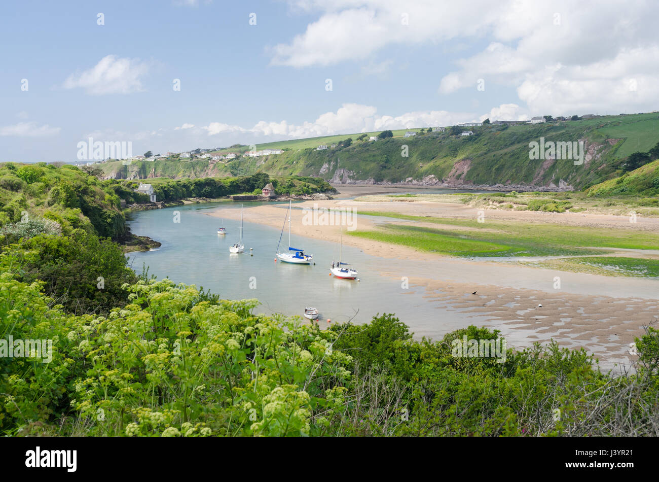 The River Avon estuary by the pretty South Hams village of Bantham in Devon - Stock Image