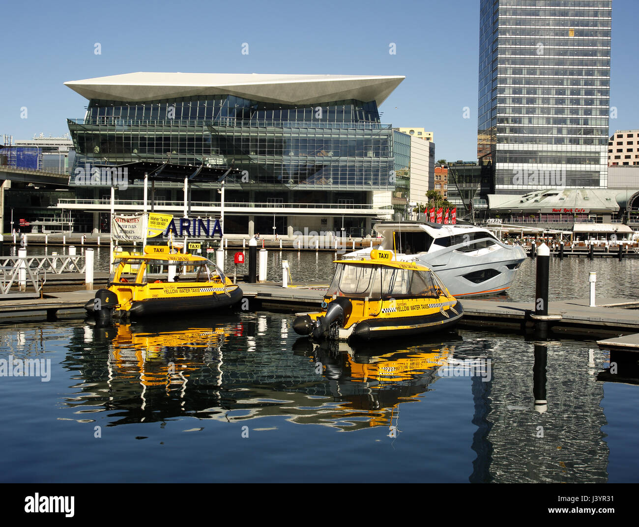 Two water taxi's moored in Cockle Bay, Darling Harbour, Sydney - Stock Image