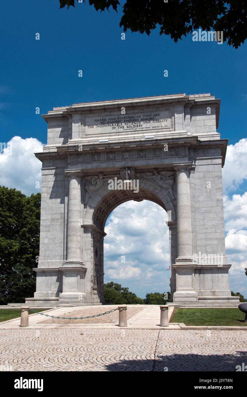 The Nat. Memorial Arch dedicated to the officers and soldiers of the Continental Army 1777-1778 at Valley Forge - Stock Image