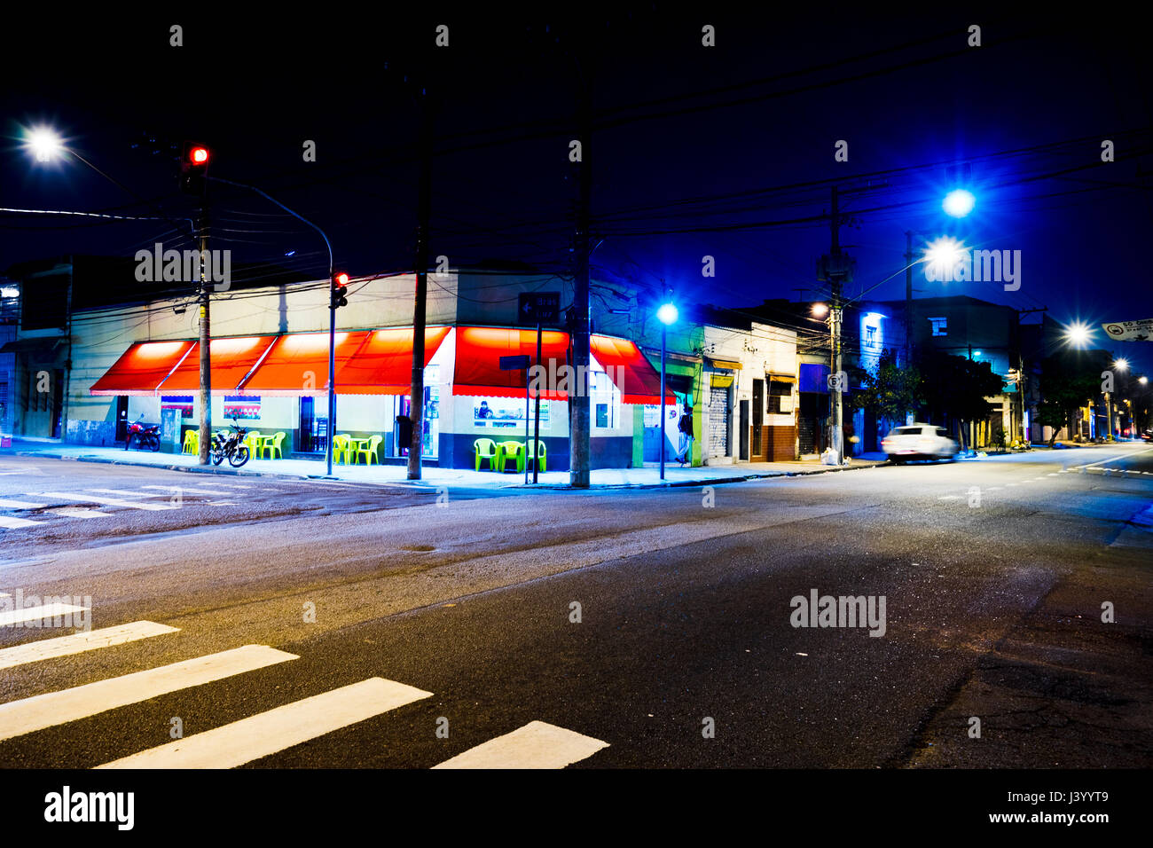 night street scenery with bar at Sao Paulo, brazil - Stock Image