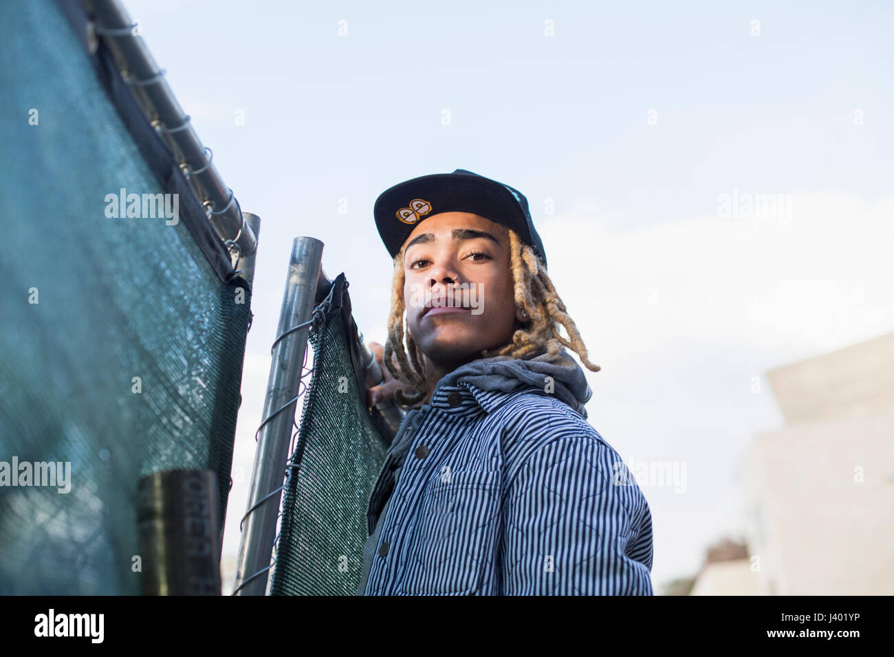 Profile of a young man. - Stock Image