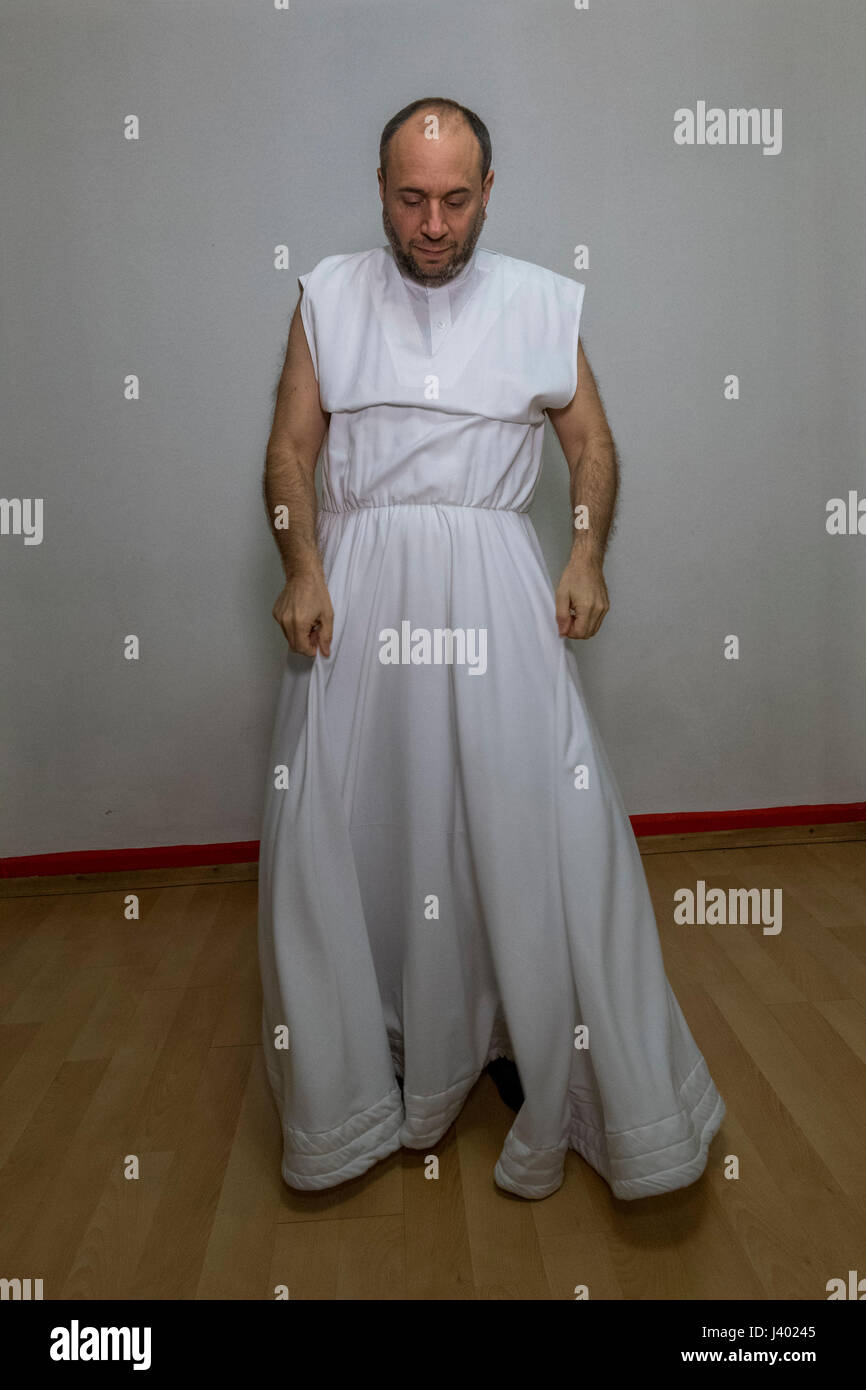 Dervish Robing, Wearing Destegul, Tennure Support without button, without bracket, Yaqup Baba of Fatih, Istanbul, - Stock Image