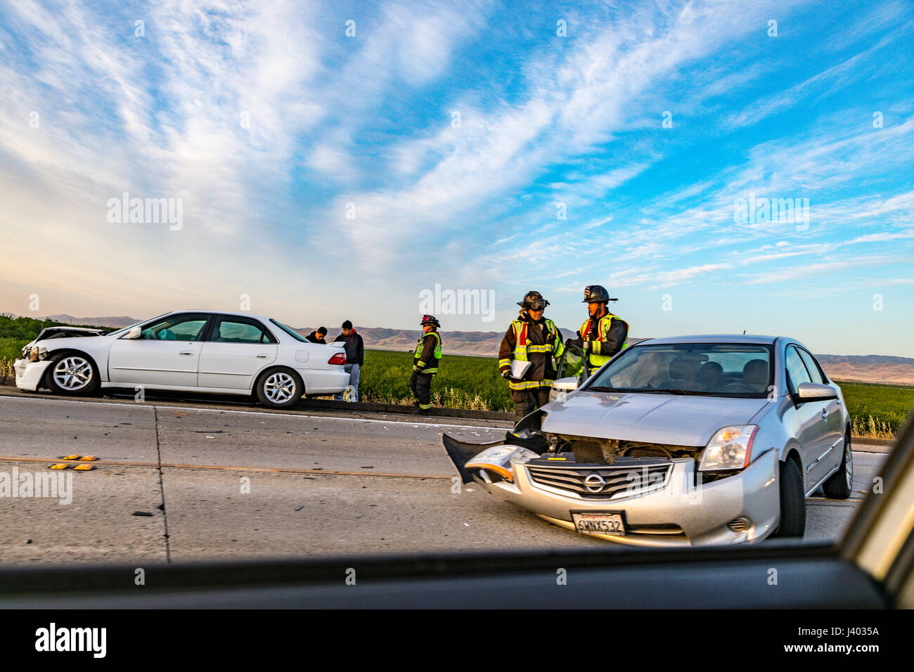 A two car accident on the California Highway 132 where it meets
