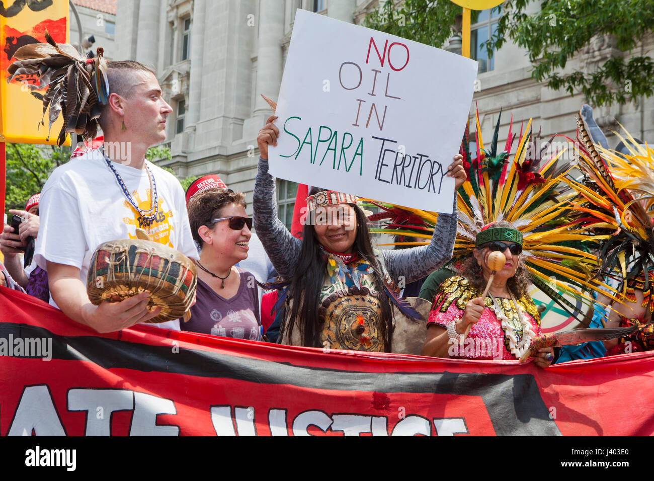 Native Americans protesting during People's Climate March - April 29, 2017, Washington, DC USA - Stock Image