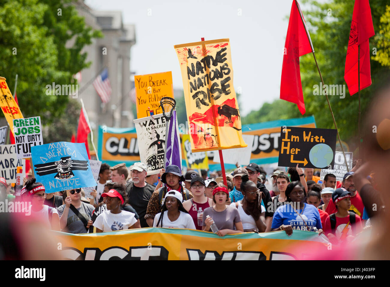 Native Americans protesting during People's Climate March - April 29, 2017, Washington, DC USA Stock Photo