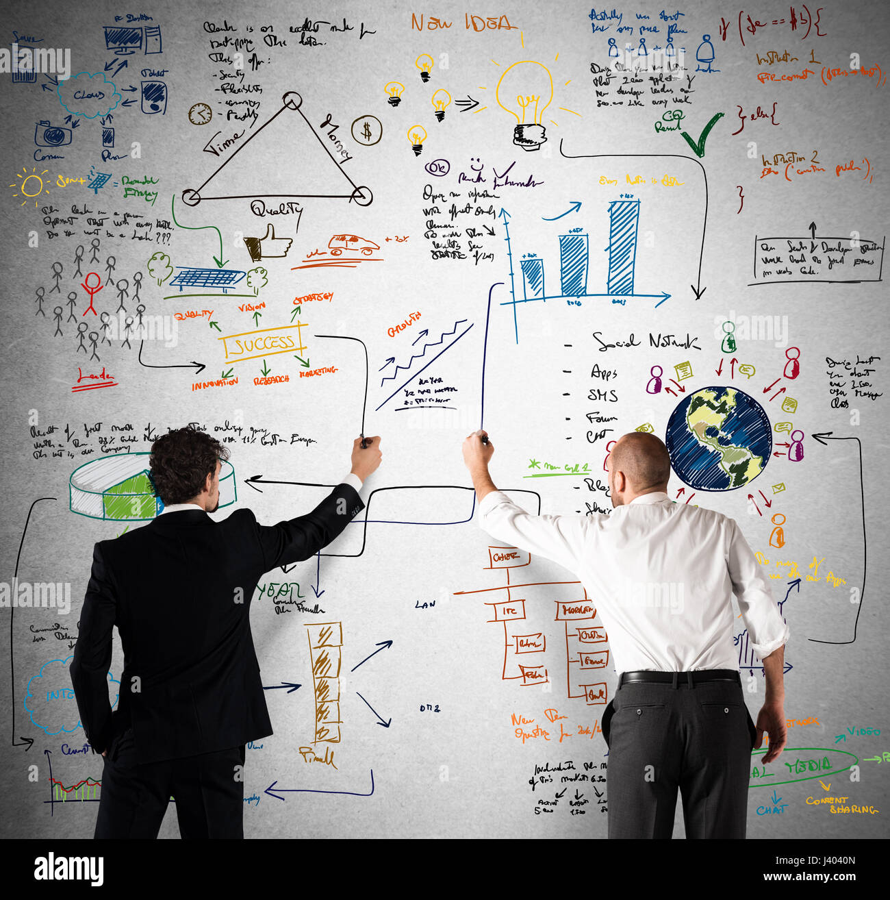 Business team drawing a new complex project - Stock Image