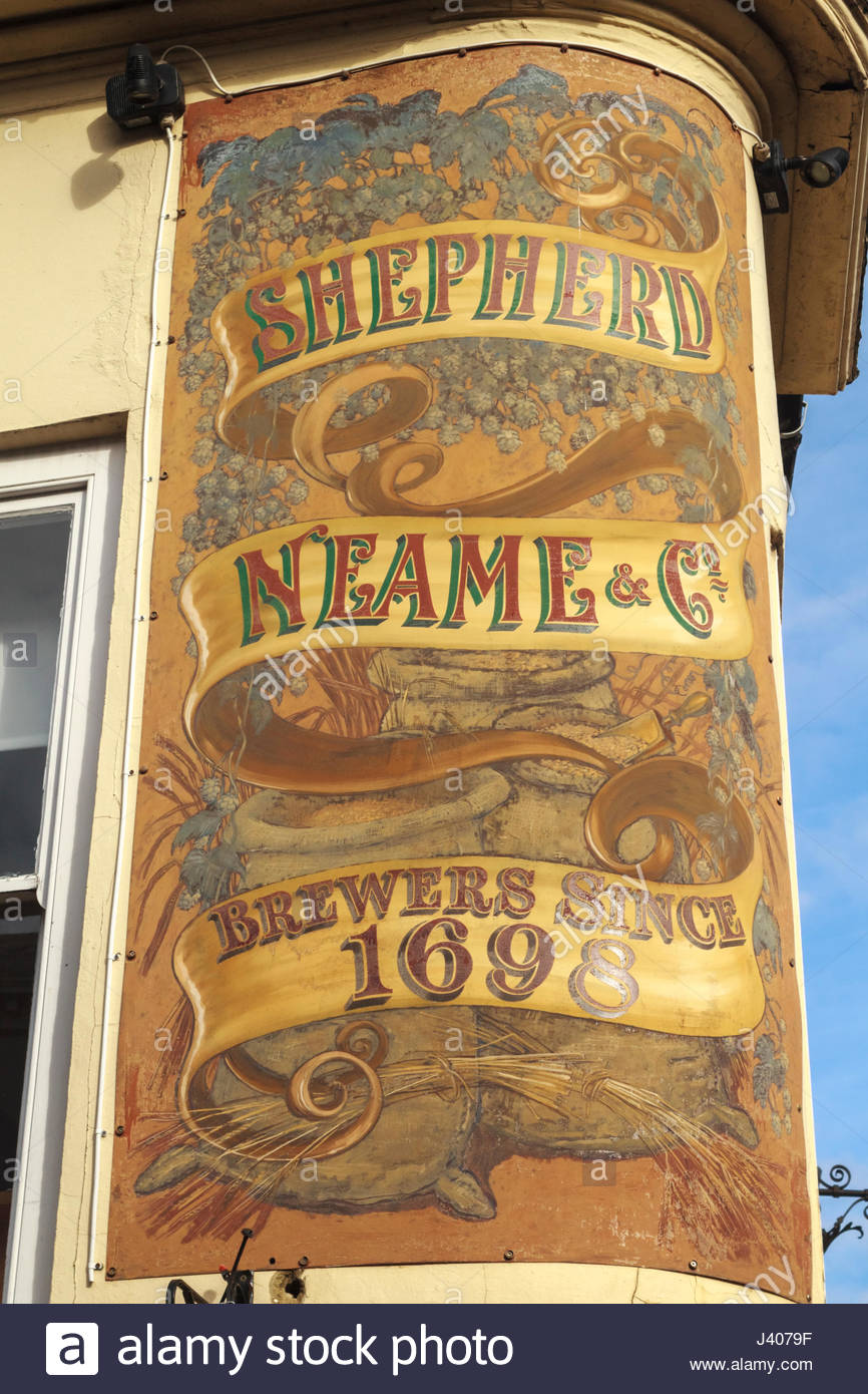 Shepherd Neame Brewery sign. Outside of the Cricketers pub Canterbury Kent - Stock Image