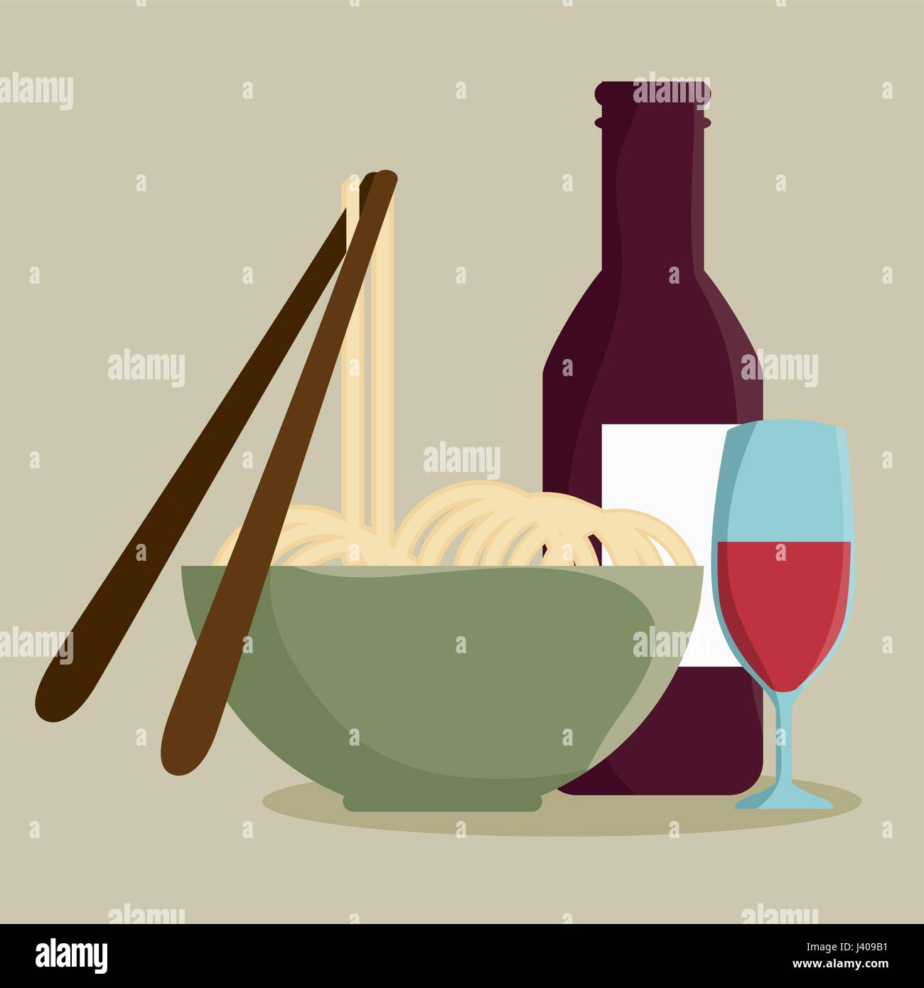 Noodles and wine design. - Stock Vector