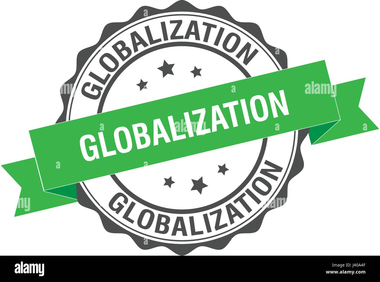 Globalization stamp illustration - Stock Image