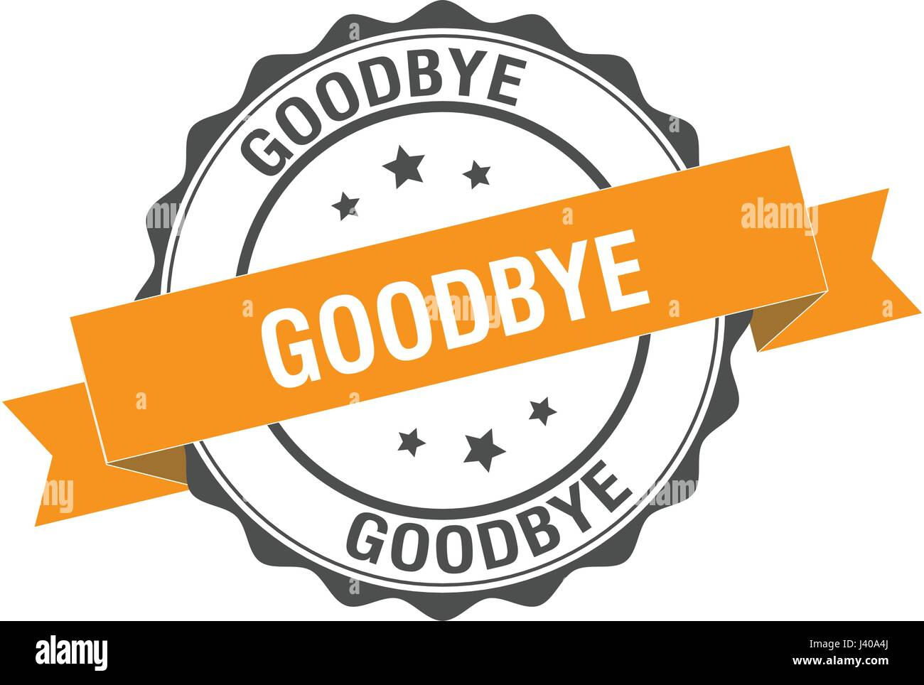 Goodbye stamp illustration - Stock Image