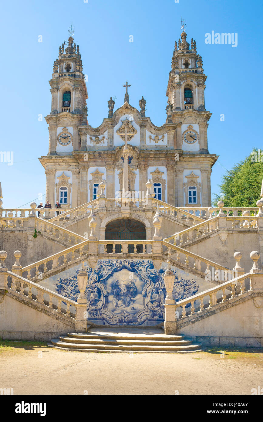 Lamego Portugal, the sanctuary church of Nossa Senhora dos Remedios at the summit of the 686 step Baroque staircase - Stock Image