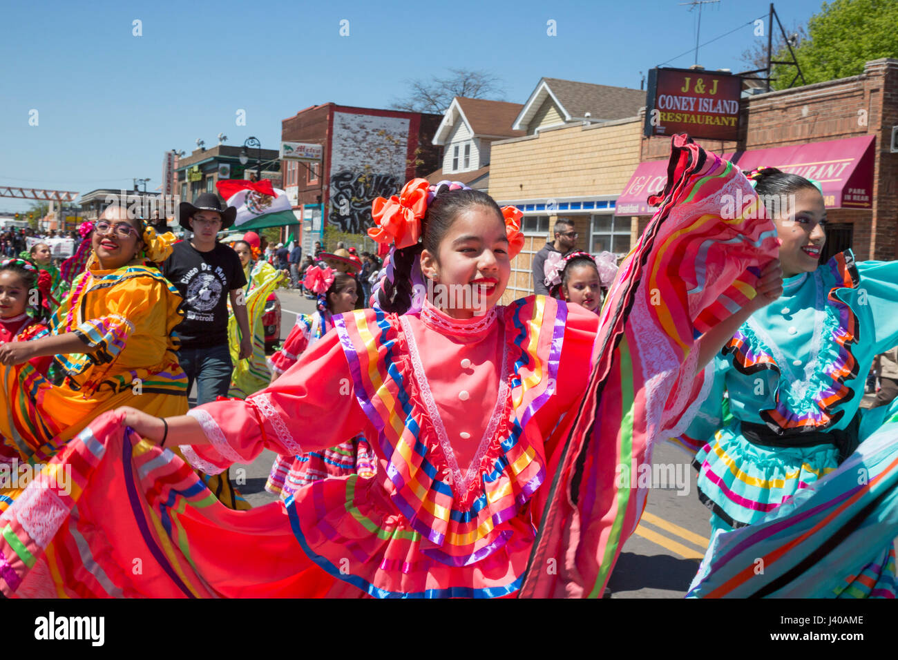 Detroit, Michigan - The annual Cinco de Mayo parade in the Mexican-American neighborhood of southwest Detroit. - Stock Image