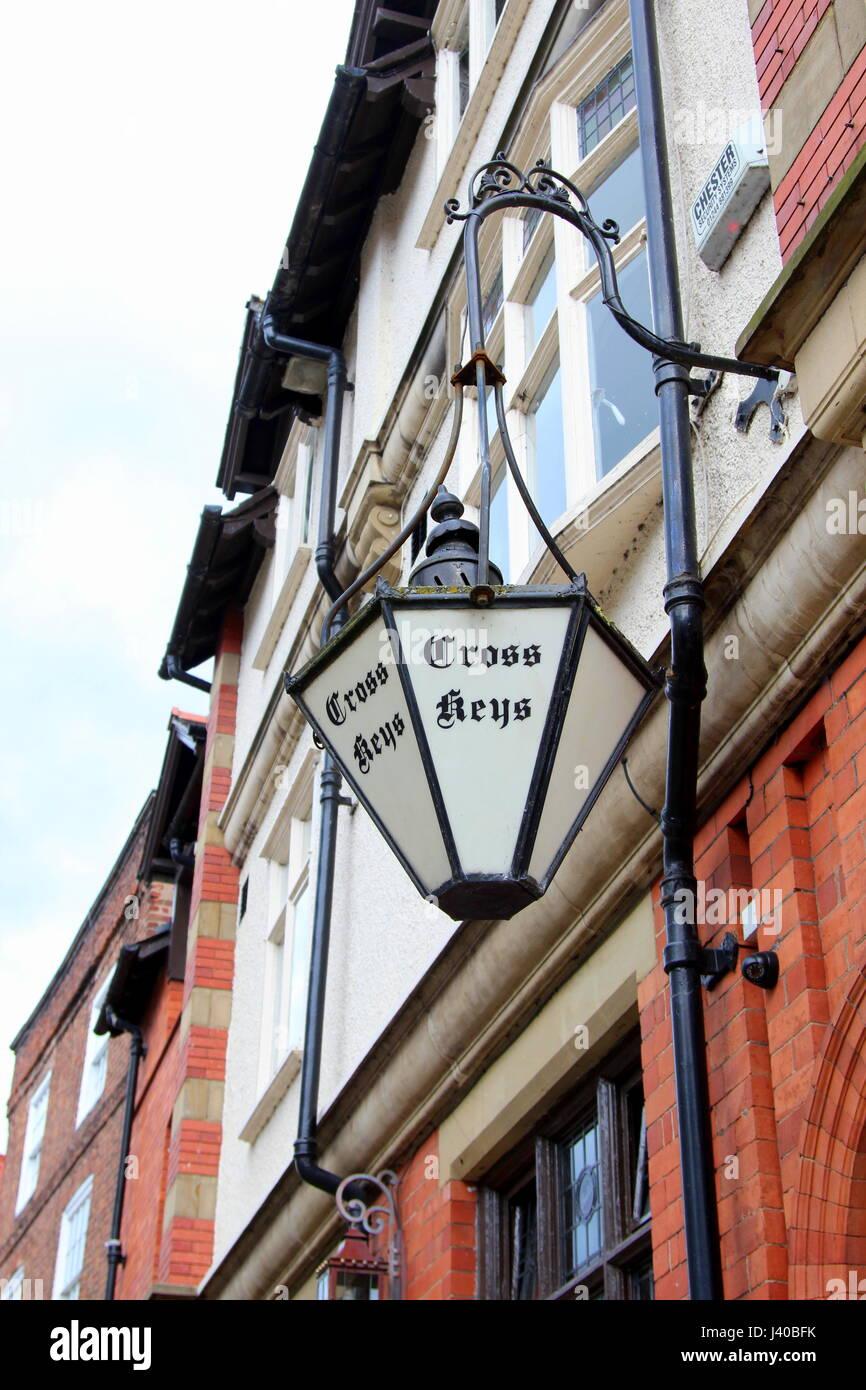 Iron lamp outside the Cross Keys pub, Duke Street, Chester, UK - Stock Image
