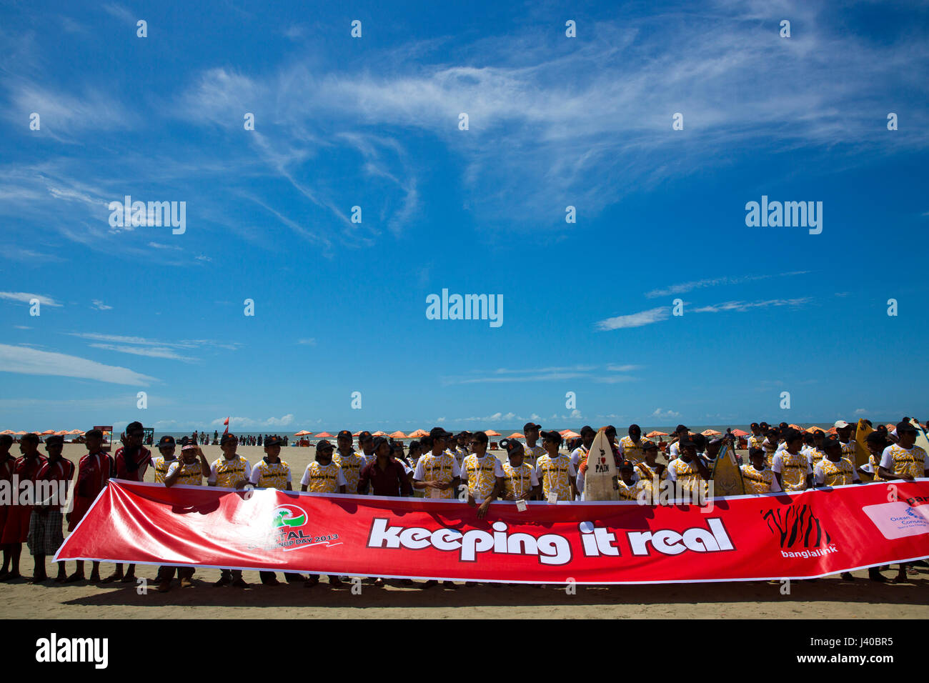 A colorful procession brings out at the Cox's Bazar sea beach to mark the International Coastal Cleanup Day - Stock Image