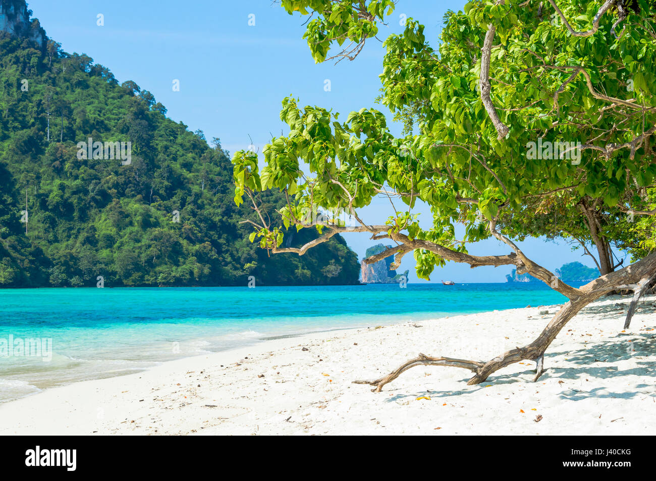 Scenic View of tropical island beach Against coast - Stock Image