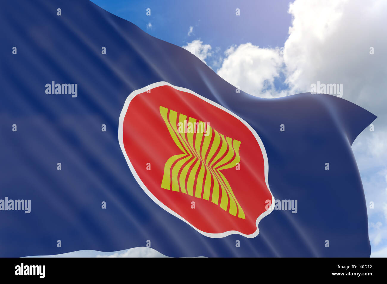 3D rendering of Asean Economic Community flag waving on blue sky background, The flag of the Association of Southeast - Stock Image