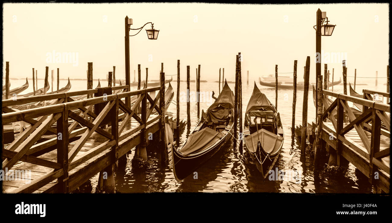 gondola pier, riva degli schiavoni, venice, veneto, italy - Stock Image