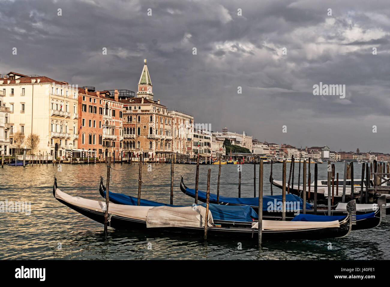 Canale Grande, Gondola, background Campanile, Venice Italy - Stock Image