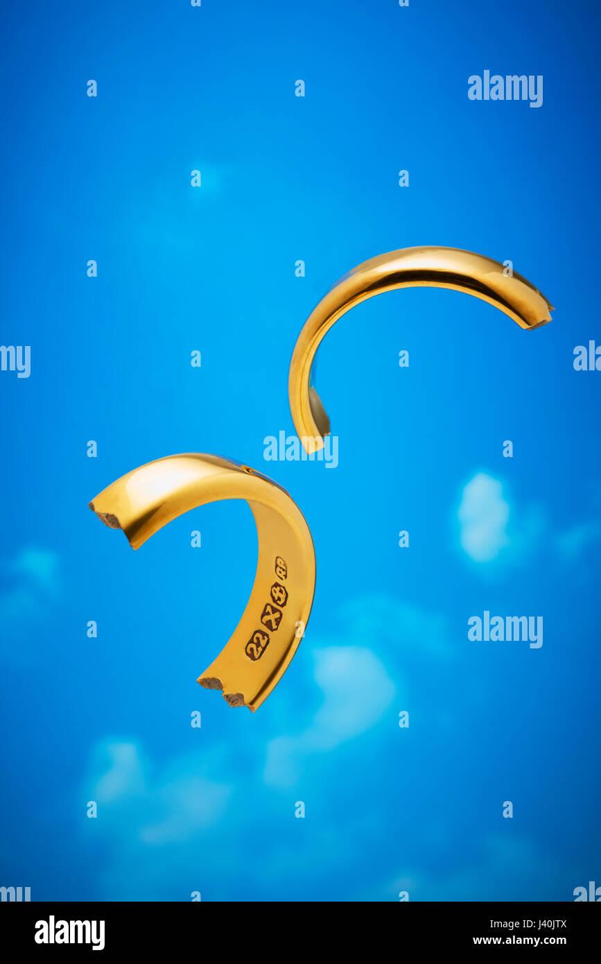 Broken Gold Wedding Ring Stock Photo
