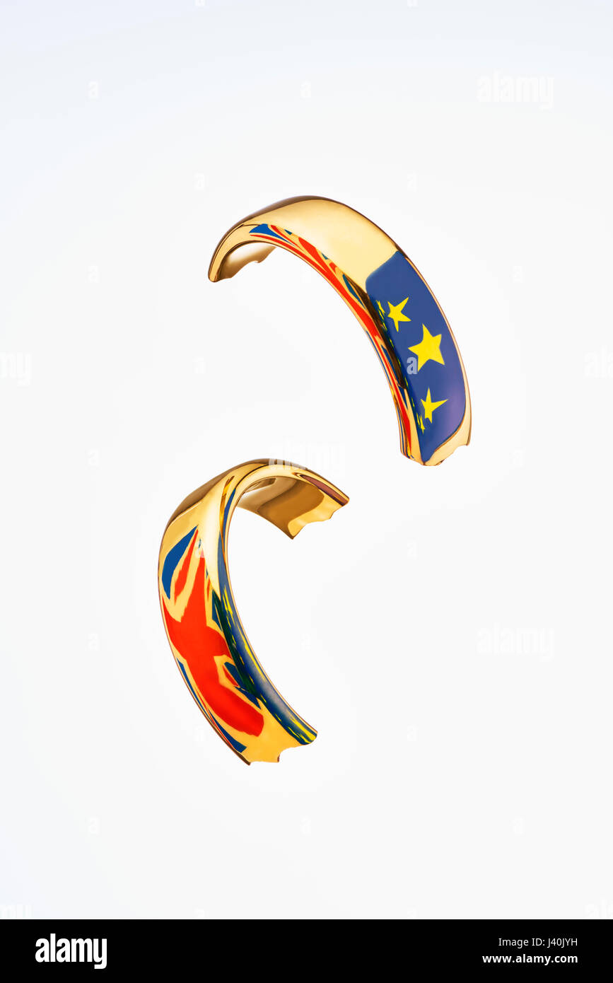 Broken Wedding Ring with Flags Symbolise Brexit Stock Photo