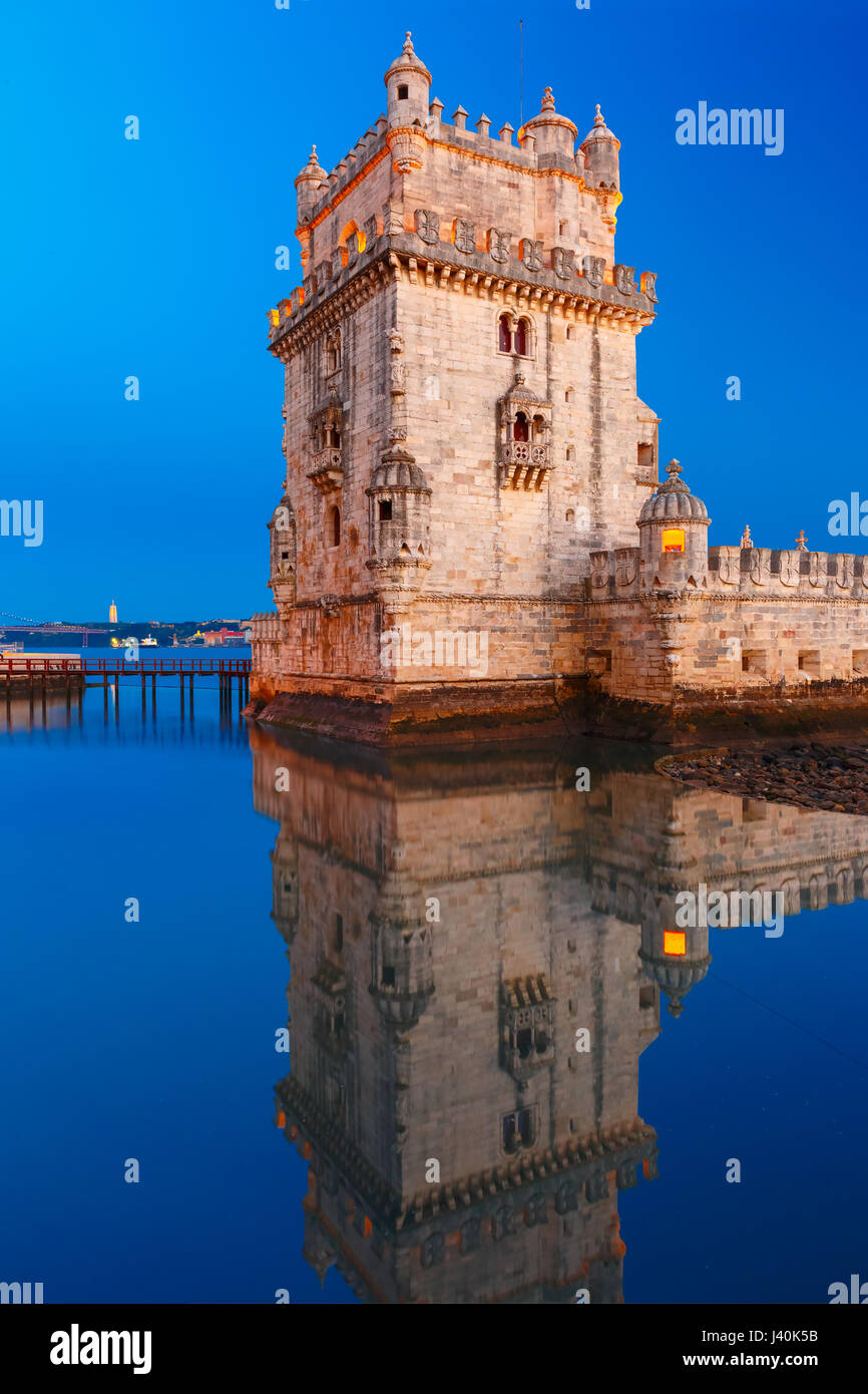 Belem Tower in Lisbon at night, Portugal - Stock Image