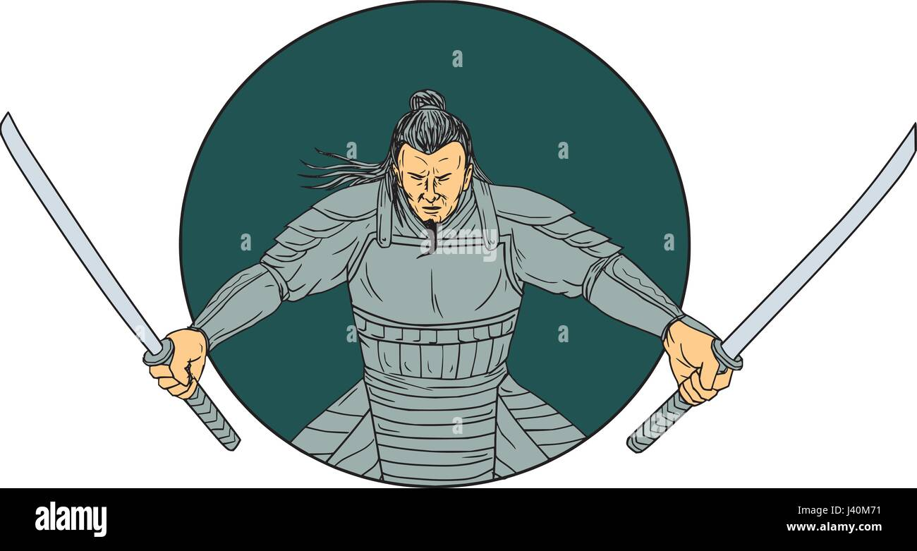 Drawing Sketch Style Illustration Of A Samurai Warrior