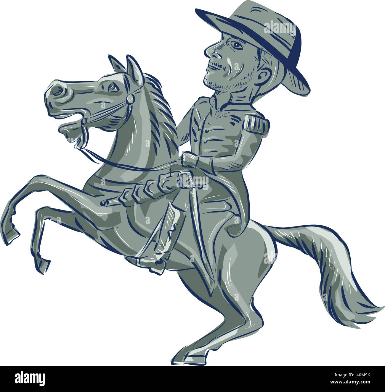 Illustration of an american cavalry officer riding horse prancing viewed from the side set on isolated white background - Stock Vector
