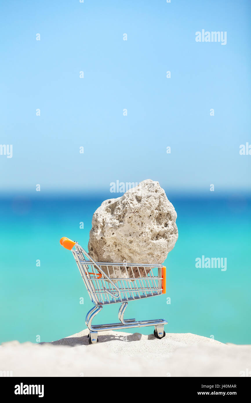 Piece of a coral in a shopping cart miniature on a beach, endangered species smuggling or environment degradation - Stock Image