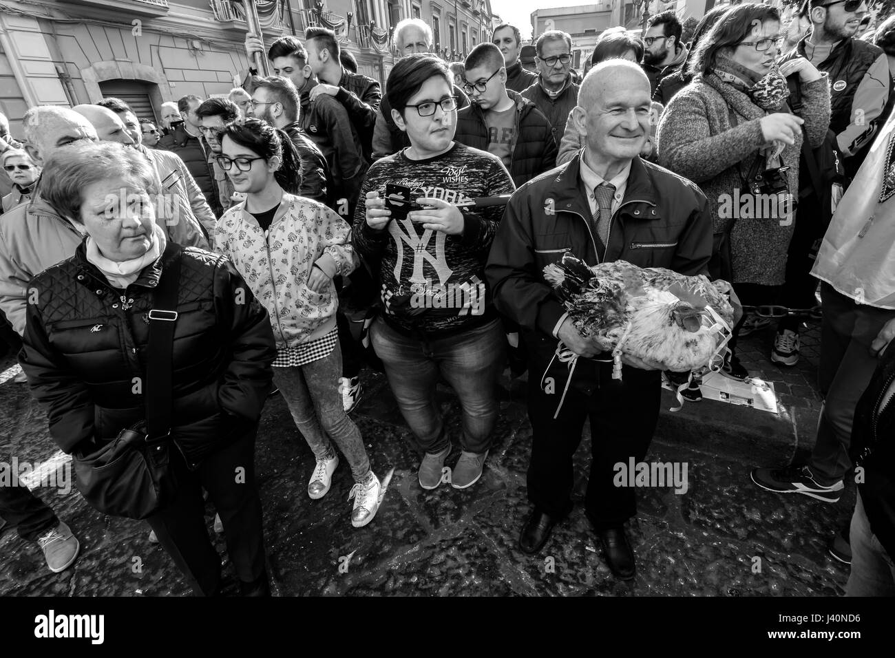 Madonna of the Hens, popular festival of the town of Pagani, Salerno, Italy. - Stock Image