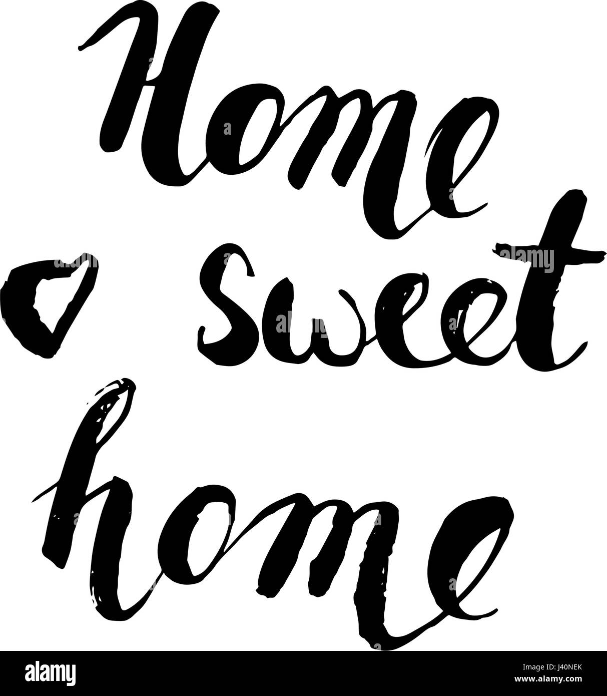 Home sweet home postcard. Hand drawn vector background. Ink illustration. Modern brush calligraphy. Isolated on - Stock Vector