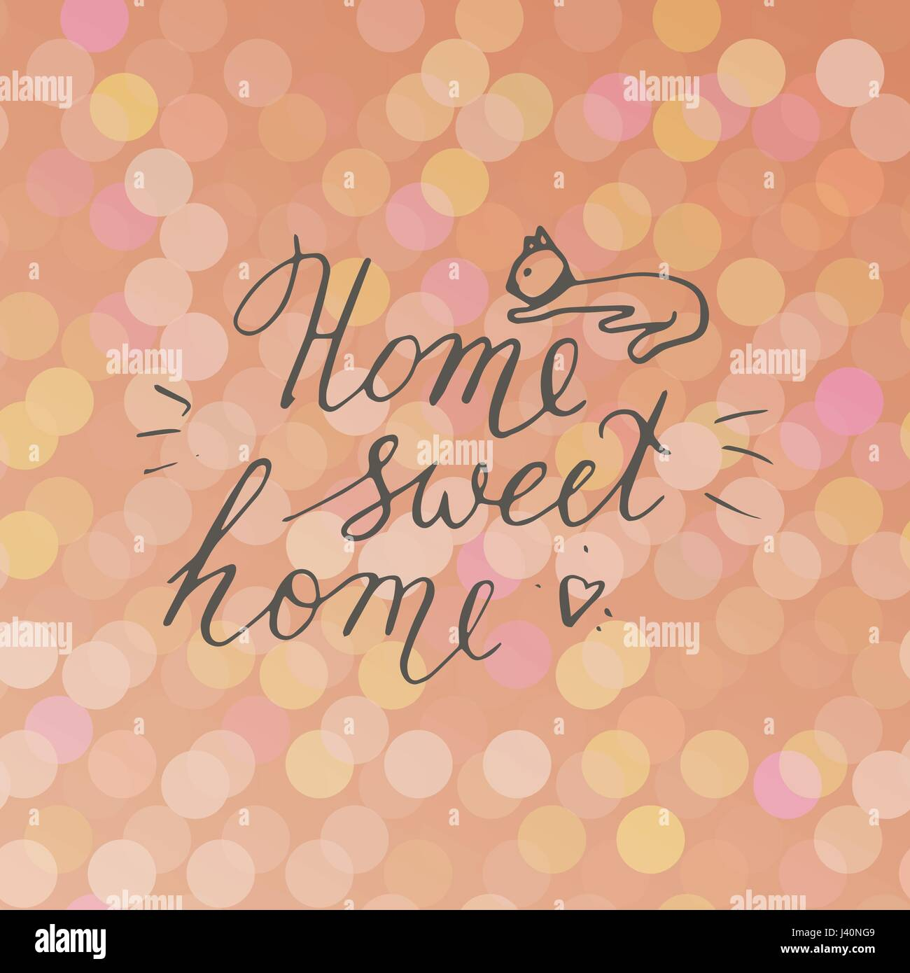 Home sweet home postcard with cat. Hand drawn vector background. Ink illustration. Modern brush calligraphy. - Stock Vector