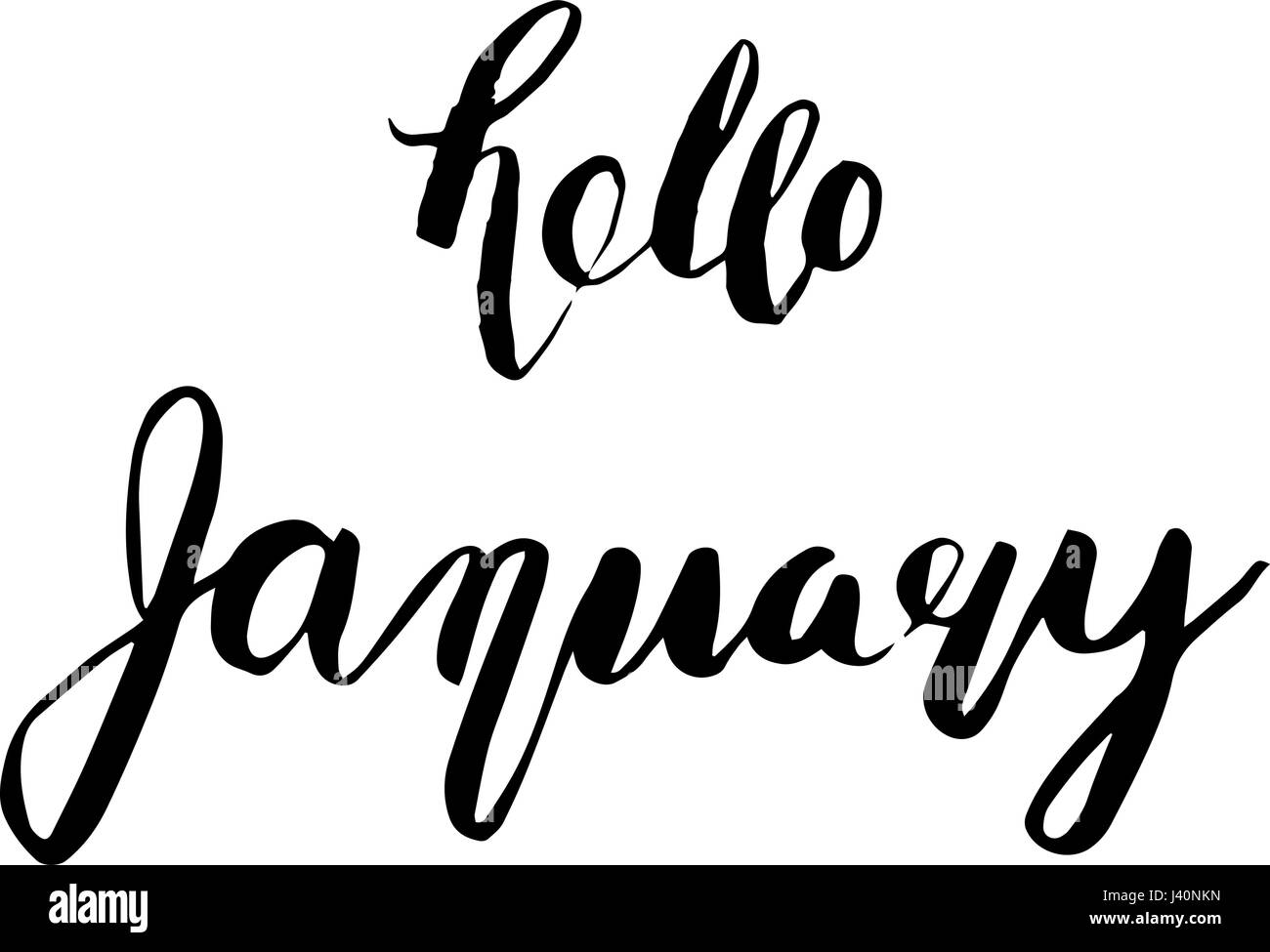 Hello January. Ink hand lettering. Modern brush calligraphy. Inspiration graphic design typography element. - Stock Vector