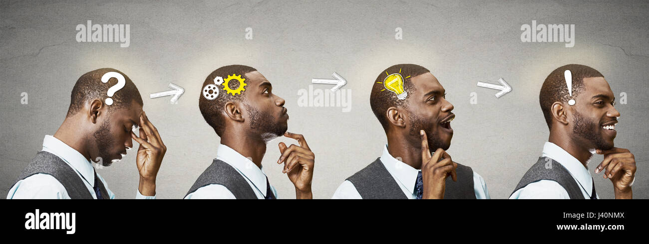 Emotional intelligence. Side view headhots sequence man thoughtful, thinking, finding solution, gear mechanism, - Stock Image