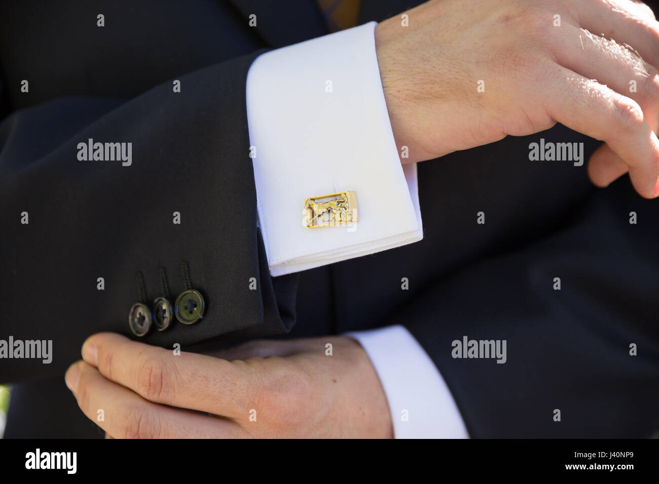 Groom Formal Attire on Wedding Day Stock Photo