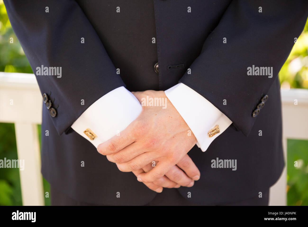 Groom Formal Attire on Wedding Day Stock Photo