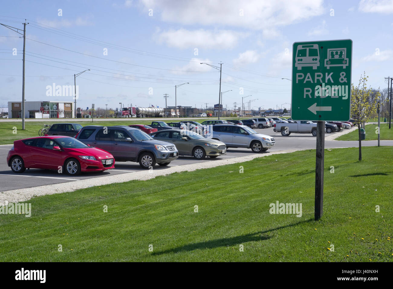 Park and Ride lot, Manitowoc Wisconsin, part of Wisconsin Department of Transportation rideshare program - Stock Image