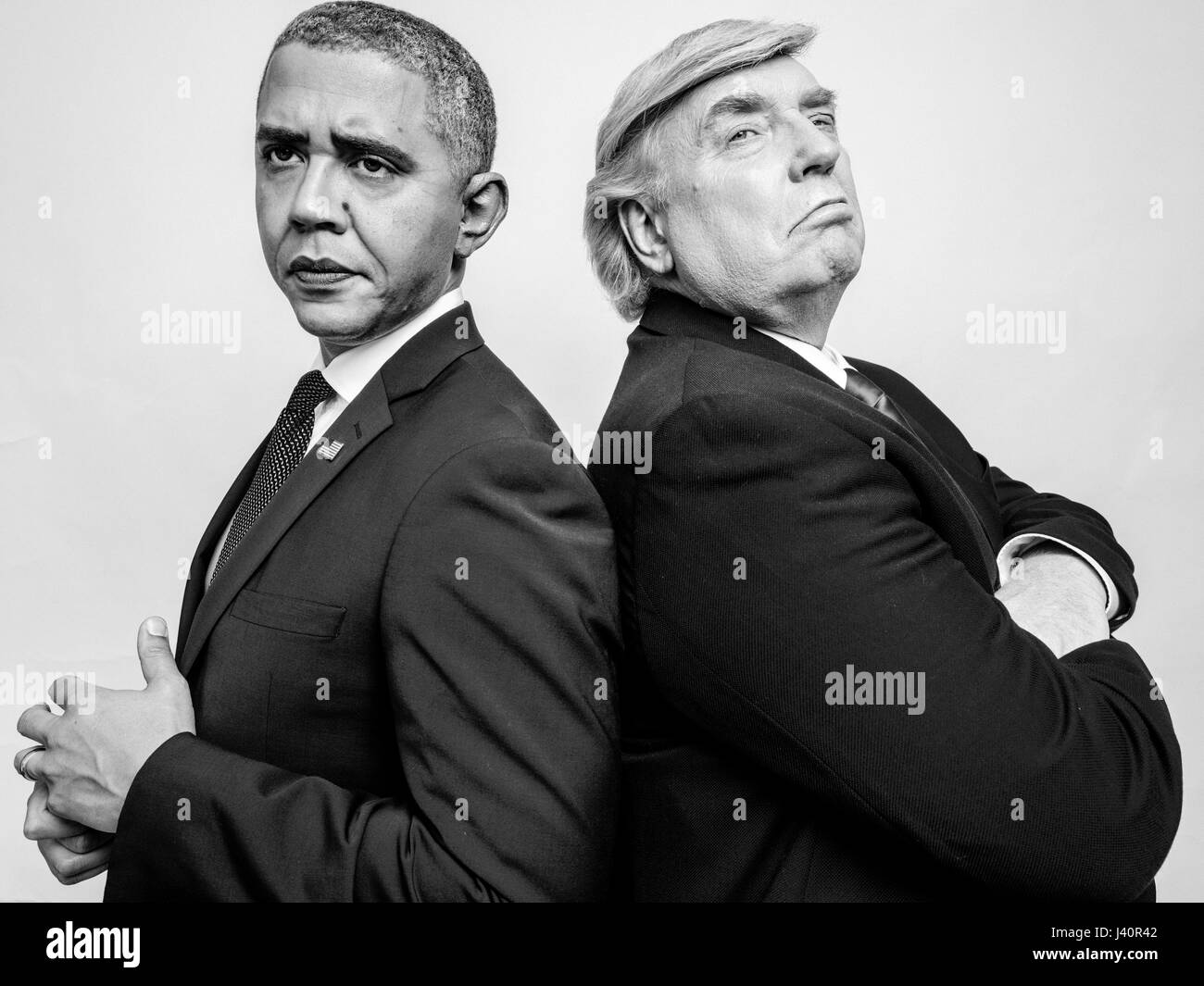 President Donald J Trump and President Obama lookalikes meet for a studio shoot in Hong Kong. - Stock Image